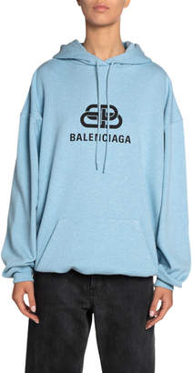 Balenciaga BB-Logo Looped-Fleece Hoodie