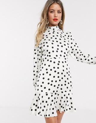 Style Cheat tie neck open back mini skater tea dress in cream polka dot print