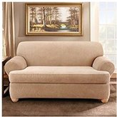 Sure Fit Stretch Stripe Loveseat T-Cushion Slipcover
