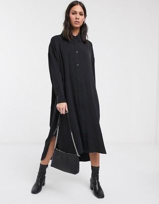 Weekday Gladys oversized shirt dress in black
