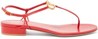 Valentino V-logo Leather Sandals - Red