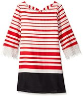 My Michelle Girls' Striped Tie Back A Line Shift Dress with Lace Bell Sleeves