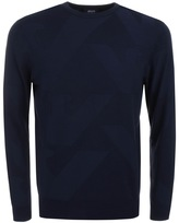 Giorgio Armani Jeans Knitted Crew Neck Eagle Jumper Navy