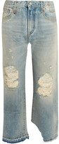 R 13 Camille Distressed Mid-rise Straight-leg Jeans - Light denim