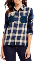 Miss Me Floral Embroidered Plaid Long Sleeve Top
