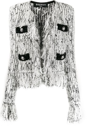Balmain Fringed-Trimmed Tweed Jacket