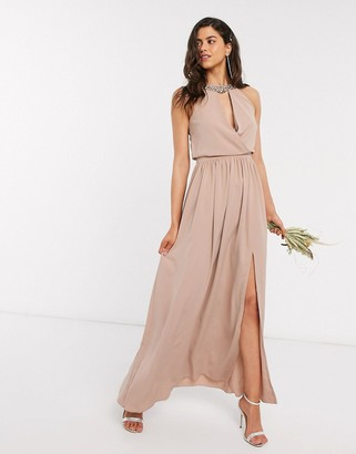 Little Mistress bridesmaid hand-embellished halter maxi dress in mink