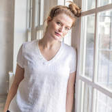 Etsy ZURICH fitted linen tee / washed and soft linen tank top in V neck / basic linen V neck blouse in wh
