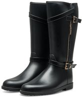 TONGPU Women's Comfort Buckle Round Toe Waterproof Tall Rain Boots (8, )