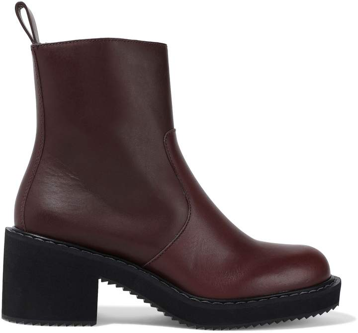 Jil Sander Navy Shearling-lined Leather Ankle Boots