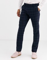 Gianni Feraud Slim Fit Wool Blend Blue Red Check Suit Trouser-Navy