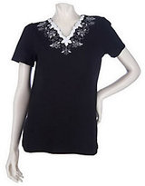 Denim & Co. As Is Short Sleeve Knit Top w/ Embroidered Beaded Neckline
