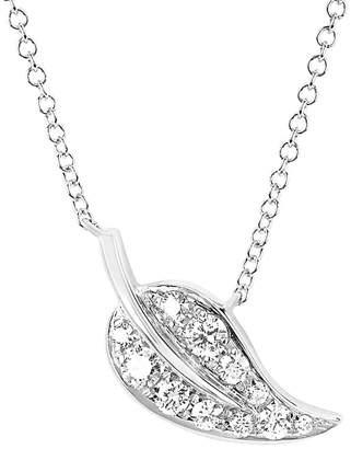 Ef Collection 14K 0.13 Ct. Tw. Diamond Leaf Necklace