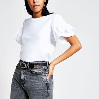 River Island Womens White broderie short flute sleeve T-shirt