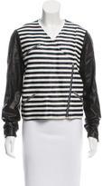 Jenni Kayne Leather-Paneled Striped Jacket
