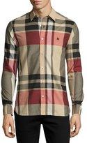 Burberry Coatson Check Cotton-Linen Shirt, Camel (Beige)