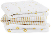Aden Anais aden + anais Gold Printed White Swaddling Blanket - Pack of 3