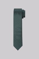 Moss Bros Premium Green Spot Silk Skinny Tie