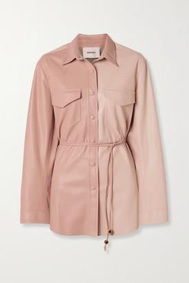 Nanushka Eddy Belted Two-tone Vegan Leather Shirt - Blush