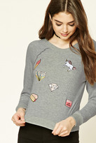 Forever 21 FOREVER 21+ Embroidered Patch Sweatshirt