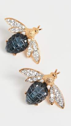Kenneth Jay Lane Gold/Crystal Two Tone Bee Earrings