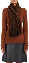 Barneys New York Women's Knitted-Mink Pull-Through Scarf-BROWN