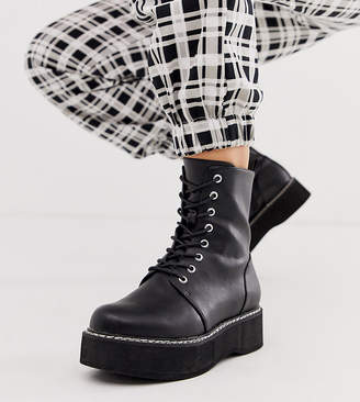Asos Design DESIGN Wide Fit Alva chunky lace up ankle boots in black