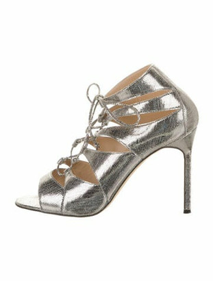 Manolo Blahnik Leather Lace-Up Sandals Silver