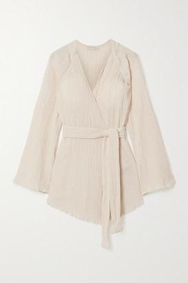 Savannah Morrow The Label The India Belted Crinkled Organic Cotton-gauze Kimono - Cream