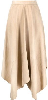 Isabel Marant Asymmetric Hem Suede Skirt