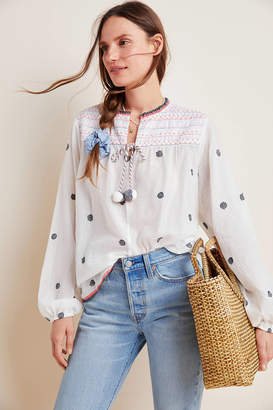 Conditions Apply Kelly Embroidered Peasant Blouse