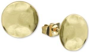 Argentovivo Hammered Stud Earrings in Gold-Plated Sterling Silver