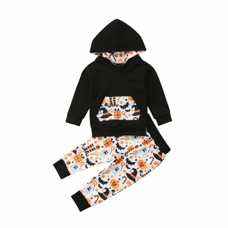 Shawnlen Toddler Baby Boy Halloween Outfits Set Long Sleeve Hoodie Sweatshirt Floral Trousers 2 Pieces Cotton Clothing Set for 0-24 Months (9-18 M