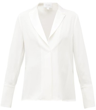 Galvan Notch-lapel Satin Blouse - Womens - White