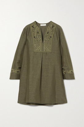 Chloé Broderie Anglaise Linen And Cotton-blend Mini Dress - Green