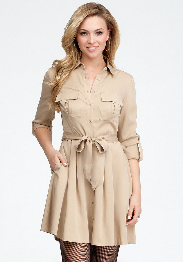 Bebe Kendra Sash Shirt Dress