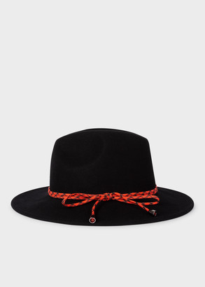 Women's Black Wool Felt Fedora Hat with Climbing Rope