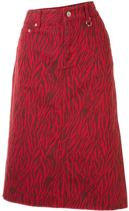 we11done Animal-Print Midi Denim Skirt