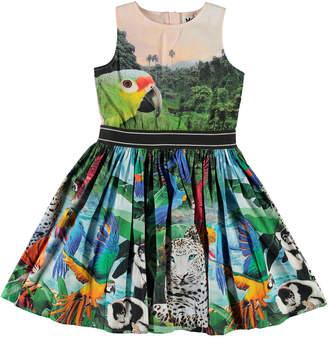 Molo Girl's Carli Woven Jungle Animals Print Dress, Size 2-12