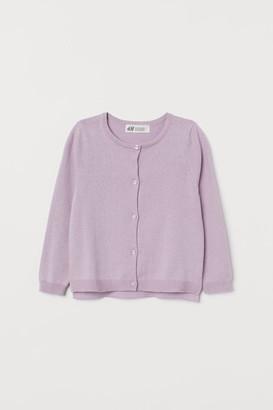 H&M Fine-knit Cotton Cardigan - Purple