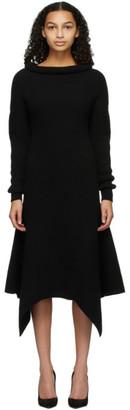 Alexander McQueen Black Rib Knit Flared Dress