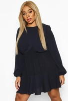 boohoo Plus Long Sleeved Tiered Woven Smock Dress