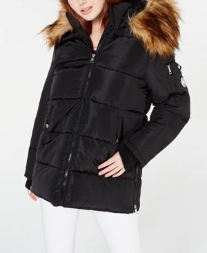 Madden-Girl Juniors' Hooded Faux-Fur-Trim Puffer Coat