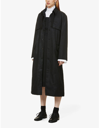 Ester Kubisz Pinstripe waxed wool coat