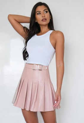 Missguided Rose Faux Leather Buckle Pleated Mini Skirt