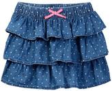 Joe Fresh Denim Polka Dot Ruffle Skirt (Toddler & Little Girls)