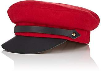 Lola Hats Women's Classic Chauffeur Wool and Leather Cap - Red