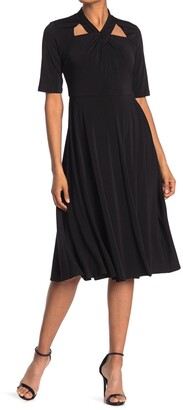Gabby Skye Cutout Elbow Sleeve Crepe Fit & Flare Midi Dress