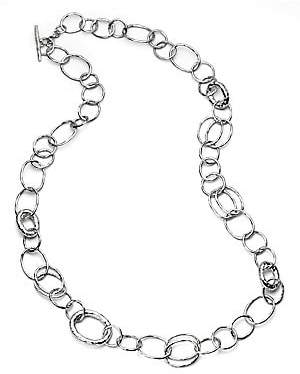 Ippolita Women's Classico Long Sterling Silver Hammered Bastille Link Chain Necklace