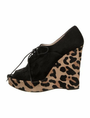 Prada Suede and Fur Wedges Black